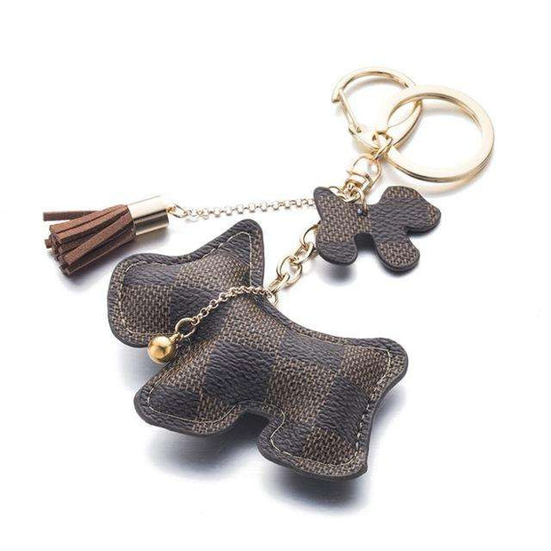 Charlie Buddy - Hand picked products for your dogs and cats-Puppy Dog Leather Key Chain with Tassel-Brown