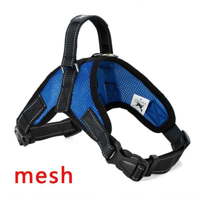 Charlie Buddy - Hand picked products for your dogs and cats-Reflective Heavy Duty Soft Nylon Dog Harness Collar-Blue Mesh / L