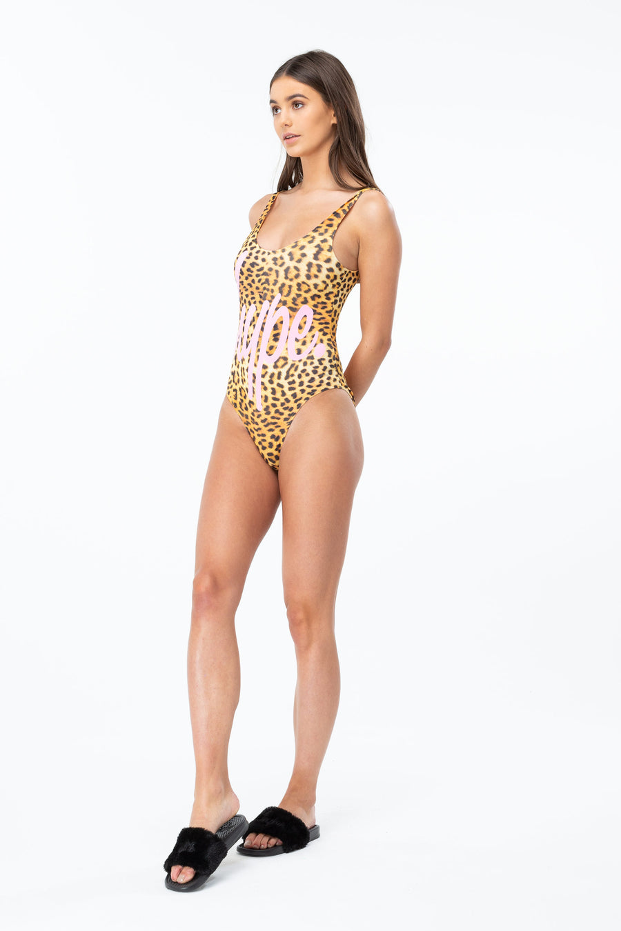 HYPE Women's Swimsuit Leopard Script
