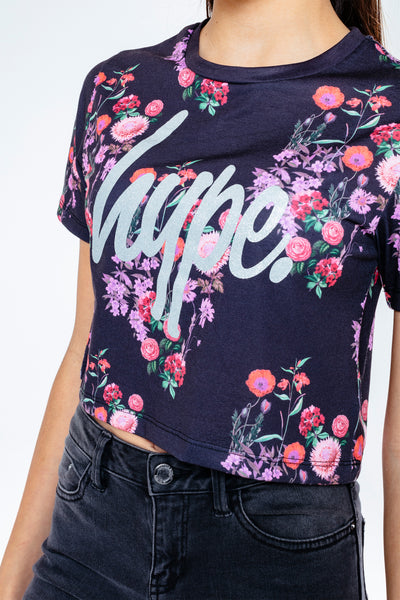 HYPE DISTY FLOWER CROPPED T-SHIRT KIDS