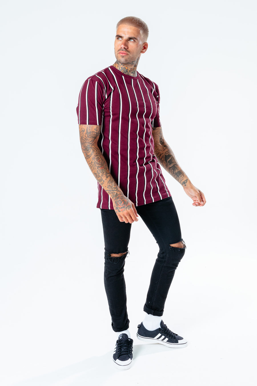 HYPE MEN´S BURGUNDY STRIPE T-SHIRT