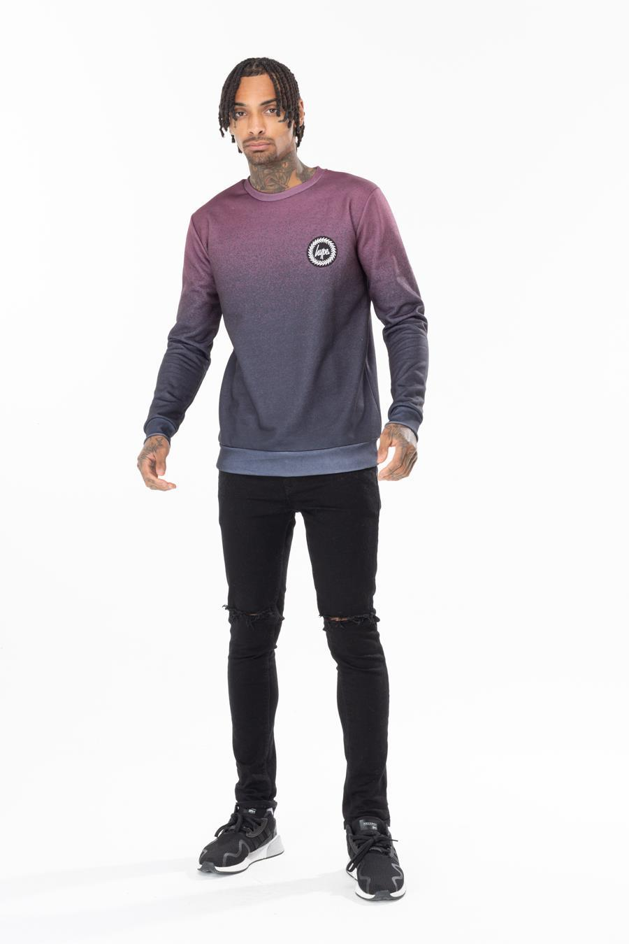 HYPE MEN´S BURGUNDY SPECKLE FADE CREWNECK