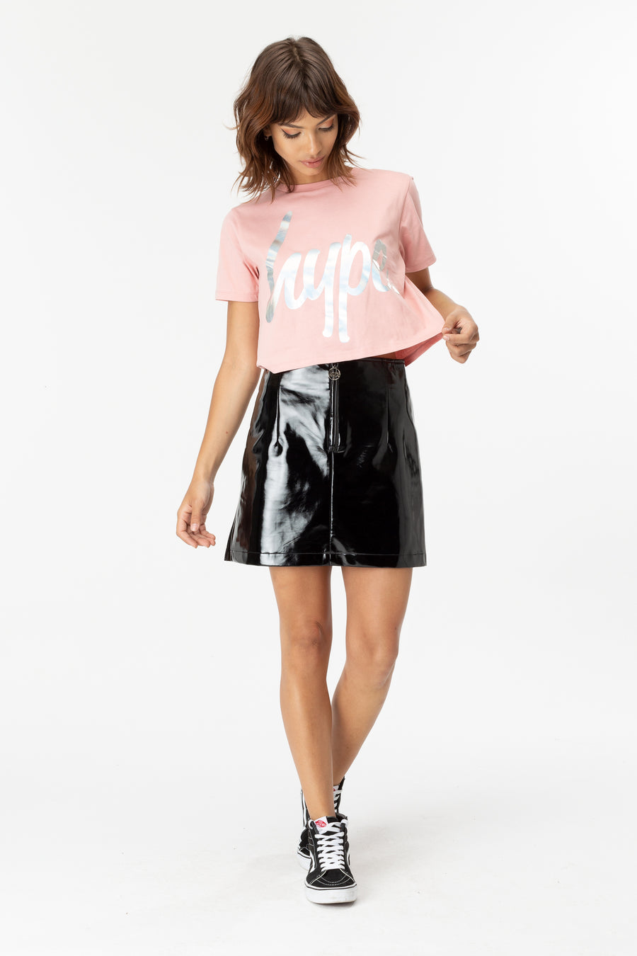 HYPE PINK HOLO CROP TEE