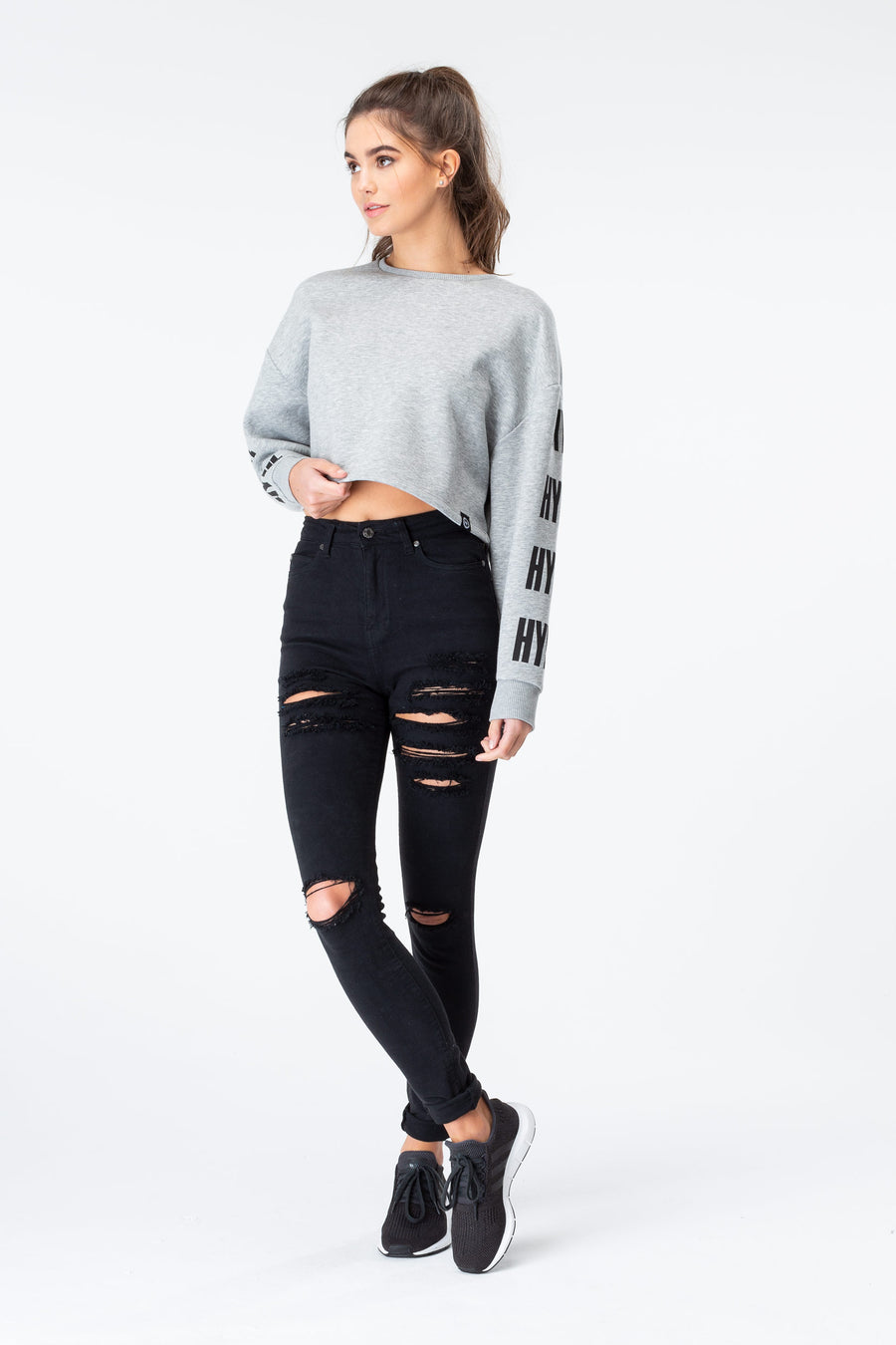 HYPE GREY MARL BLOCK CROP CREW