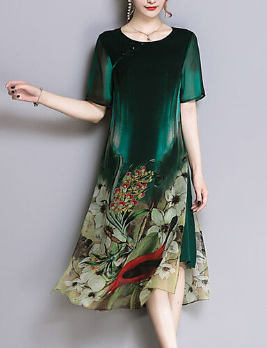 1dda32bd003d Women's Plus Size Going out Loose Chiffon Dress - Floral Print Spring Green  XXL XXXL 4XL [l054081]