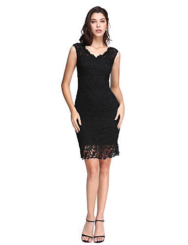 bc8b9463e3f Sheath   Column V Neck Short   Mini Lace Little Black Dress Cocktail Party    Prom Dress with Lace by TS Couture®  l060141
