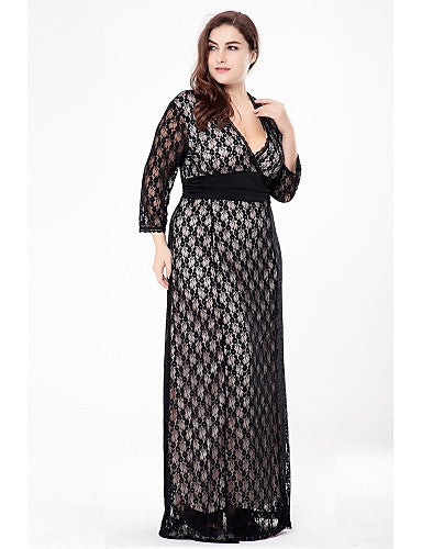2b7db388153 Women s Lace Plus Size Party   Daily Sophisticated Maxi A Line   Lace    Swing Dress - Solid Colored   Jacquard Black