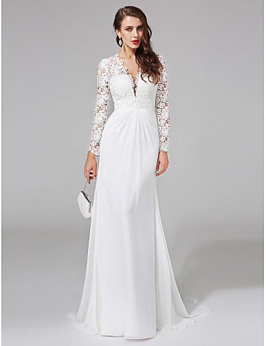 1db4a72c27 Sheath   Column V Neck Sweep   Brush Train Chiffon   Floral Lace  Made-To-Measure Wedding Dresses with Lace   Button by LAN TING BRIDE®    See-Through   Royal ...