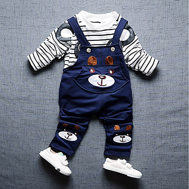 01facb5d1fcc2 Toddler Boys' Casual / Active Daily / Going out Striped / Cartoon Long  Sleeve Regular Regular Cotton Clothing Set Blue / Cute [l053001]