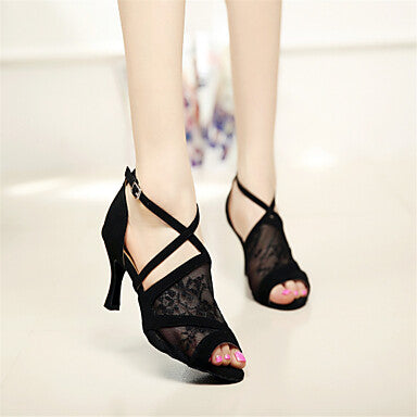 f0108fce9 Women's Latin Shoes / Ballroom Shoes Lace Sandal Buckle Stiletto Heel –  yallavip.com