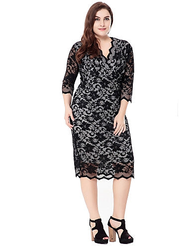 97ece2fbaf2 Women s Lace Plus Size Party   Daily   Going out Sophisticated Bodycon    Sheath   Lace Dress - Solid Colored   Jacquard Lace   Cut Out V Neck Fall  Black ...