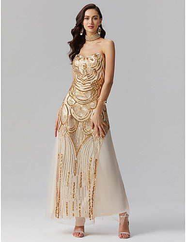 35a2ad6cafa Sheath   Column Sweetheart Neckline Floor Length Polyester   Sequined  Sparkle   Shine Formal Evening Dress with Sequin   Draping   Pleats by TS  Couture® ...