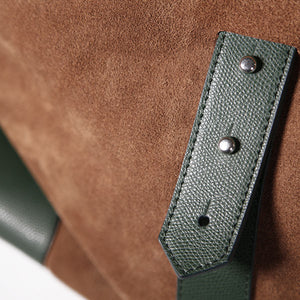 Gentlemen's suede travel bag - verde/marrone