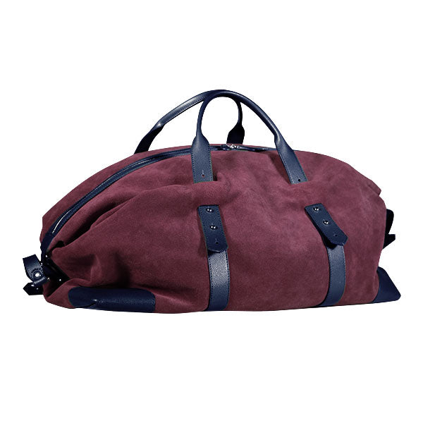 Gentlemen's suede travel bag - blu/bordeaux