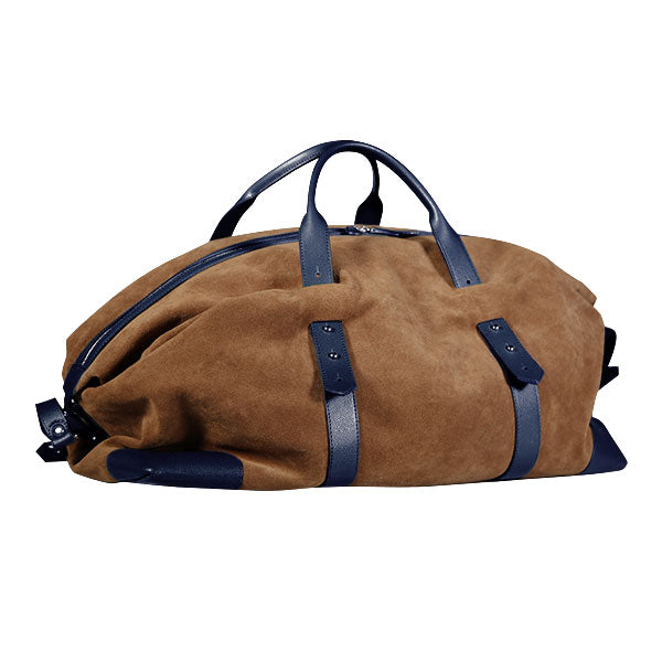 Gentlemen's suede travel bag - blu /marrone