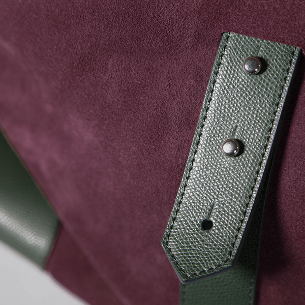 Gentlemen's suede travel bag - verde/bordeaux