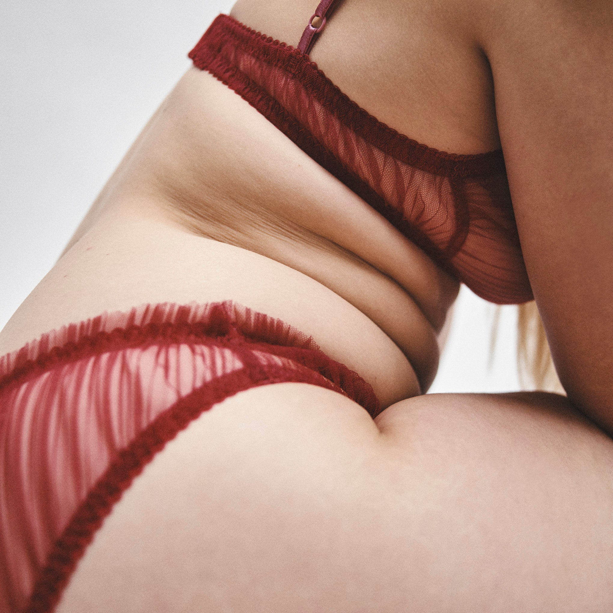 Margaux red pleated lingerie set