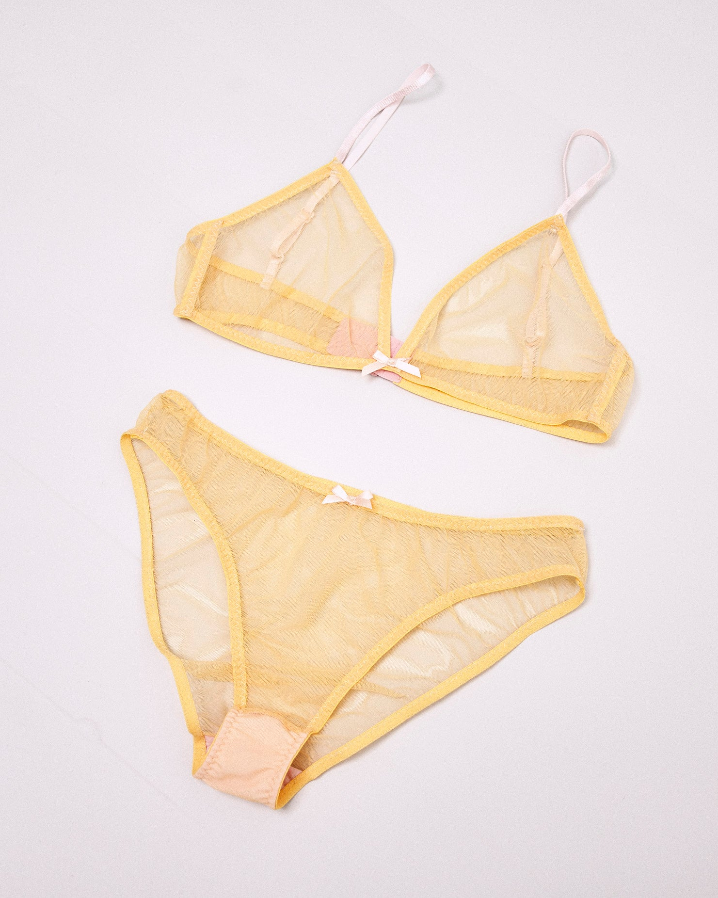 Vida yellow mesh bra