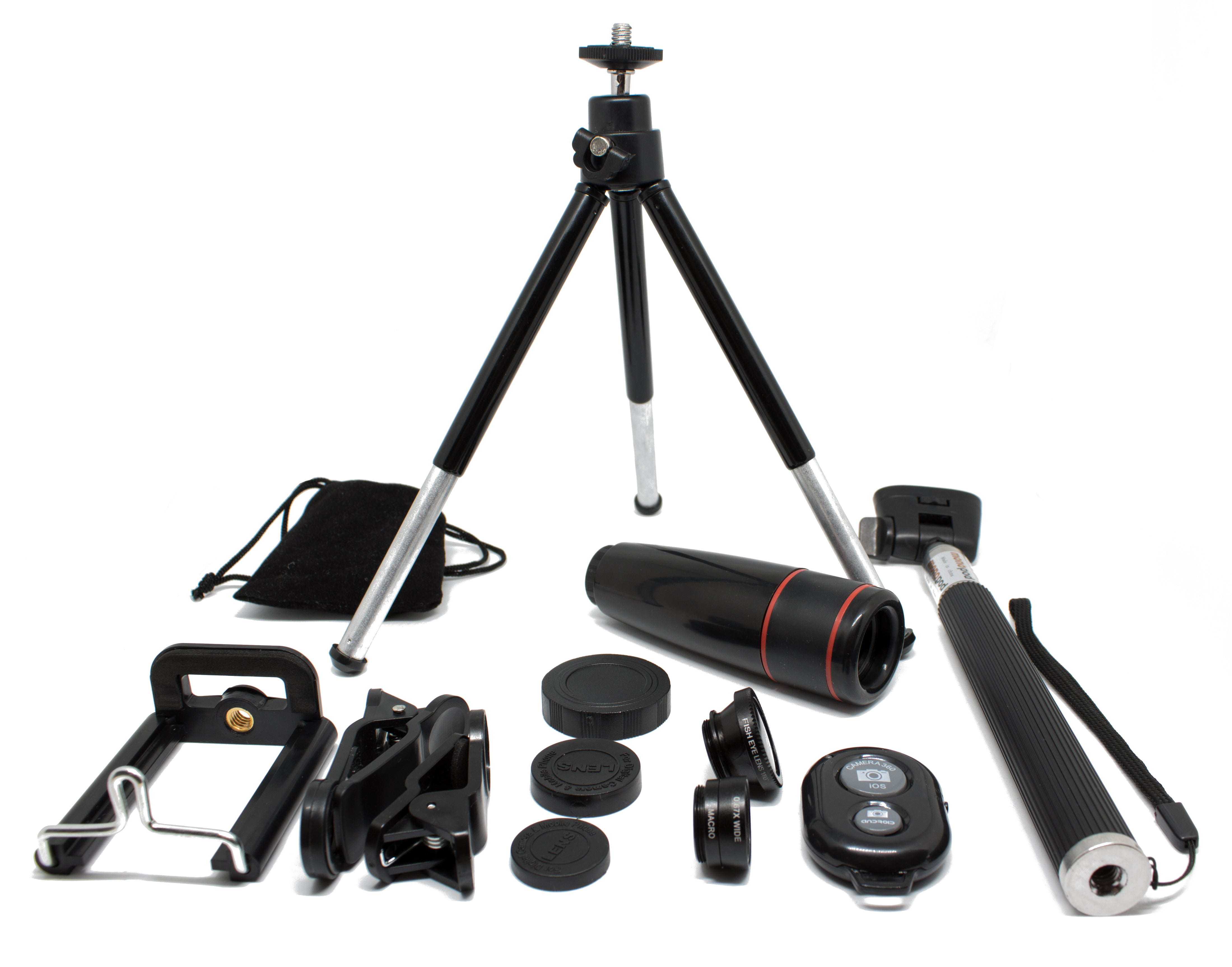 10In1 8X Zoom Universal Phone Camera Lens Travel Kit For Smartphone + Telephoto Lens + Fish Eye + Mini Tripod