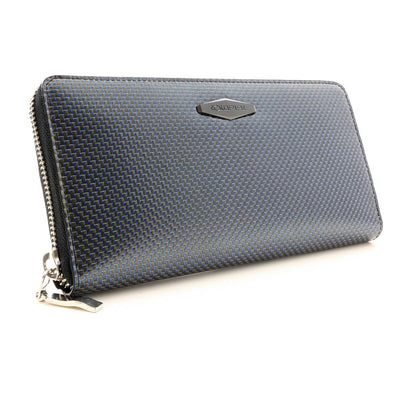 Coldfire Accordion Zip Around RFID Wallet for Women Blue clutch front side