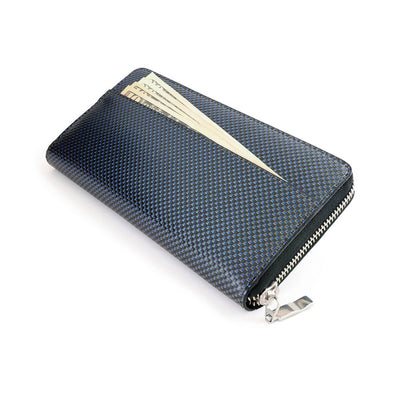 Coldfire Accordion Zip Around RFID Wallet for Women Blue clutch back pocket