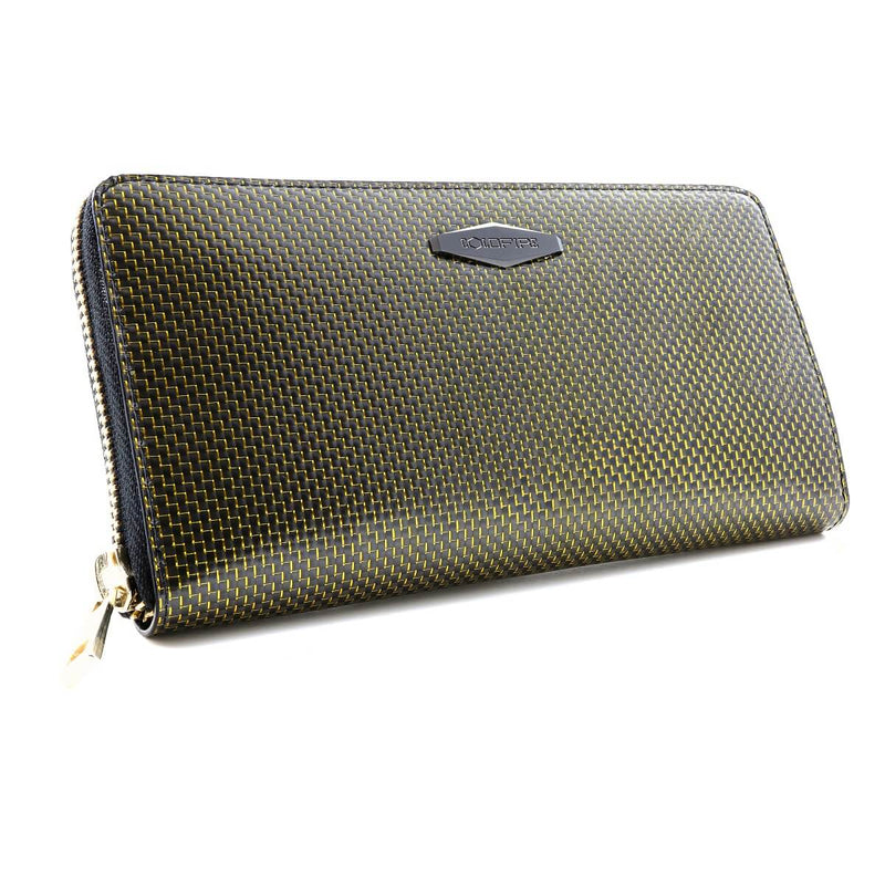 Coldfire Accordion Zip Around RFID Wallet for Women Gold clutch front