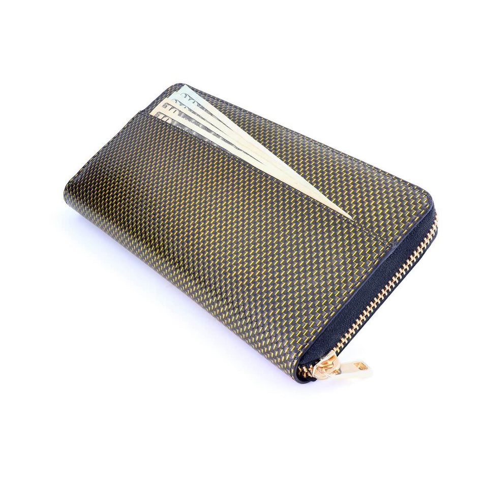 Coldfire Accordion Zip Around RFID Wallet for Women Gold clutch back pocket