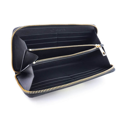 Coldfire Accordion Zip Around RFID Wallet for Women Gold clutch open