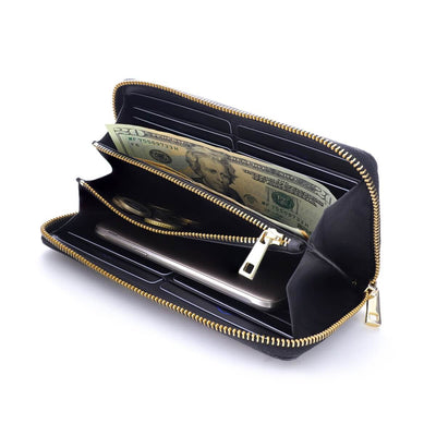 Coldfire Accordion Zip Around RFID Wallet for Women Gold clutch open full