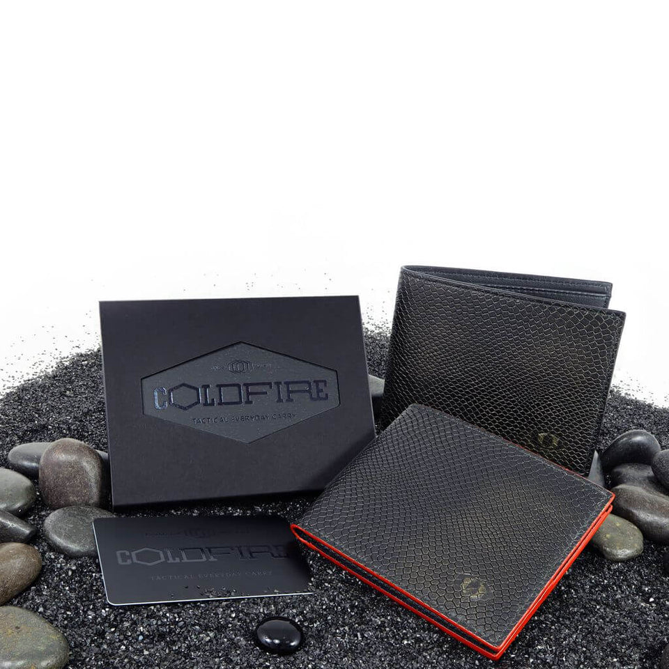coldfire snake eye bifold wallet black red front box