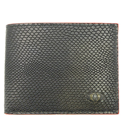 coldfire snake eye bifold wallet black red front