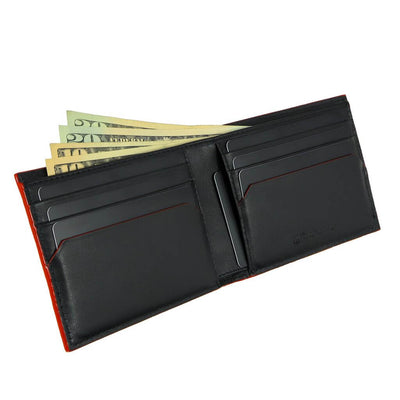 coldfire snake eye bifold wallet black red open