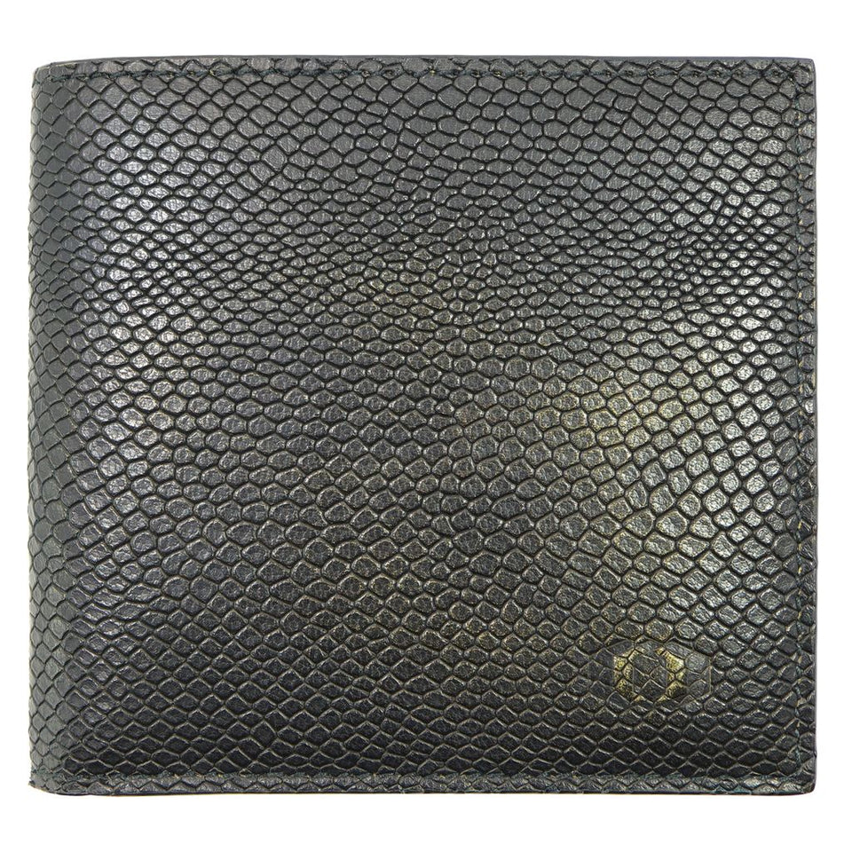 coldfire snake eye bifold leather wallet front black