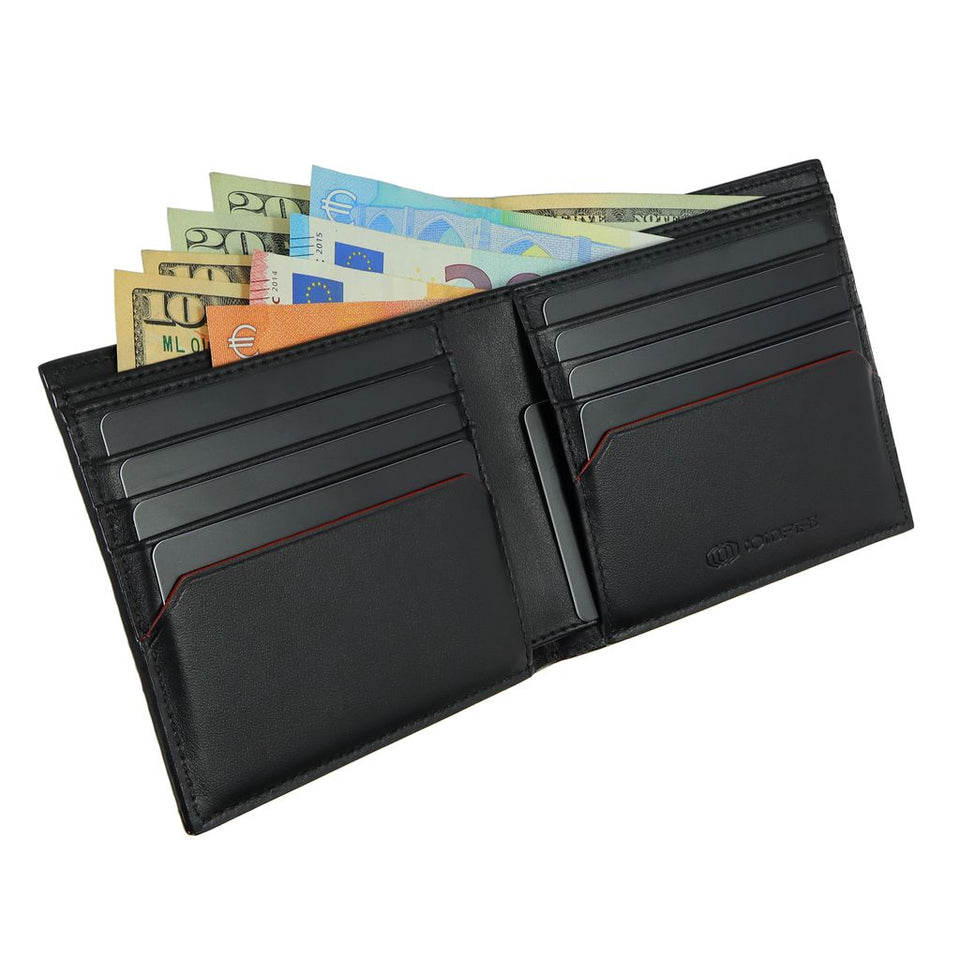 coldfire snake eye bifold leather wallet open black