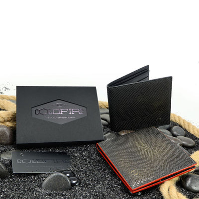 coldfire snake eye bifold leather wallet front black red