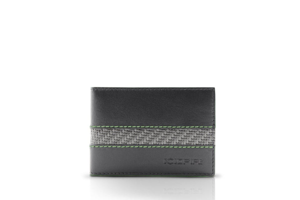 blade line-slim card holder-carbon fiber mini cardholder-green-coldfire-front