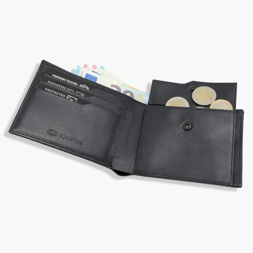 Carbon Fiber Wallet with coin pocket men's leather Wallets with coin pouch rfid coldfire bblack