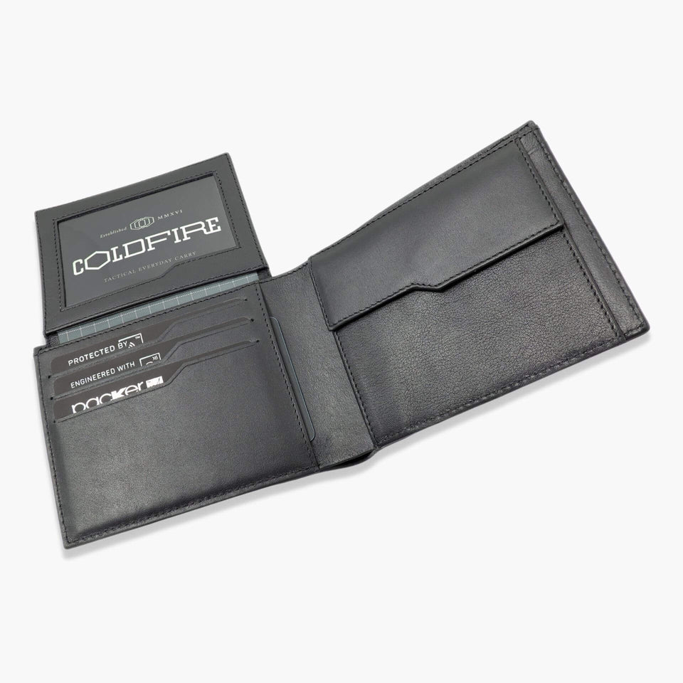 Carbon Fiber Wallet with coin and id pocket slim leather Wallets with coin purse rfid coldfire black open