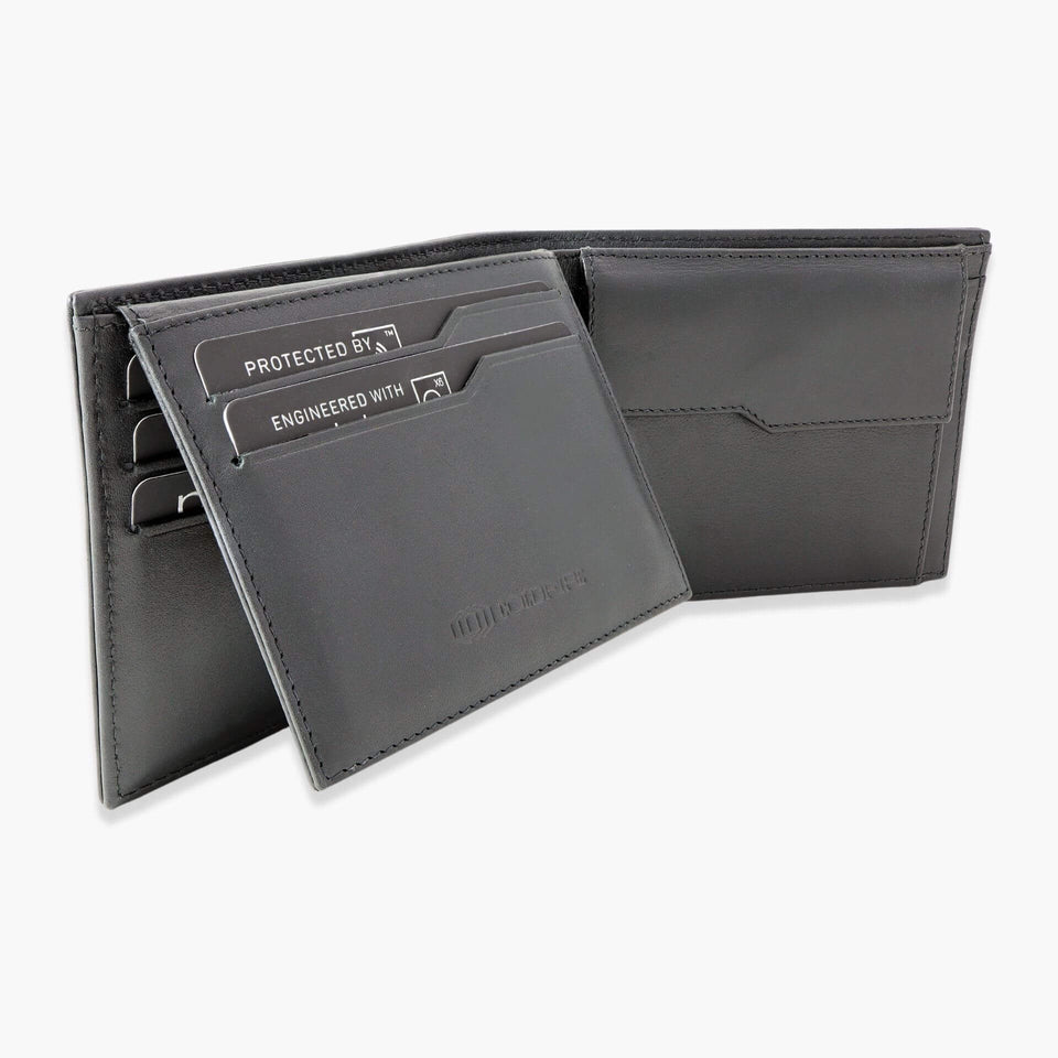 Carbon Fiber Wallet with coin and id pocket slim leather Wallets with coin purse rfid coldfire open side black