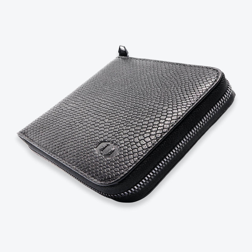 coldfire snake eye wallet zip around with coin pocket black