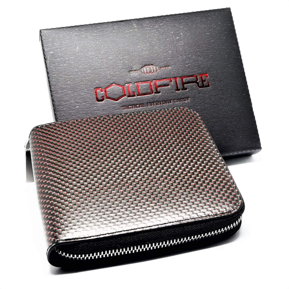 coldfire-te-women-wallet-zip-around-coin-pocket-red-carbon-fiber