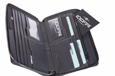 Travel Wallet Zip Around Organizers carbon fiber rfid coldfire