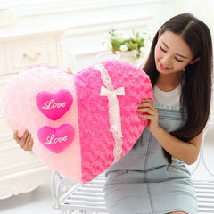 Roses Love pillow cartoon couple pillow Heart Shape Sofa Rose applique Cushion Plush Toy Valentine's Day wedding gift Home decor