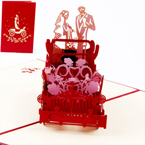 3D Pop Up Vintage Car Greeting Card Wedding Valentine Birthday Invitation -Y102