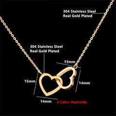 Love Double Heart Necklace Ladie FOREVER LOVE Jewelry Stainless Steel Necklaces & Pendants Fashion Lovers Valentine's Day Gift