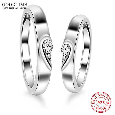 1PCS 925 Sterling Silver Ring AAA Cubic Zircon Heart Couple Rings Wedding Jewelry for Lover Women Men Jewelry Valentine Day Gift