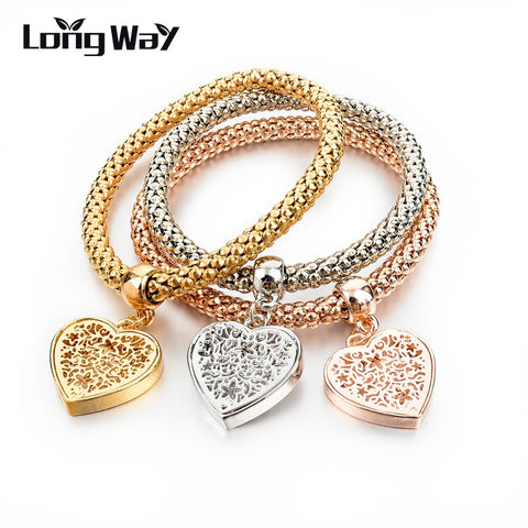 LongWay Ethnic Love Heart Charm Bracelets For Women Gold Color Crystal Chain Bracelets & Bangles With Pendants SBR150160