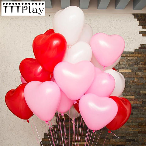 10pcs/lot Romantic 12 Inches 2.2g Red Love Heart Latex Helium Balloons Wedding Decoration Valentines Day Birthday Party Balloons
