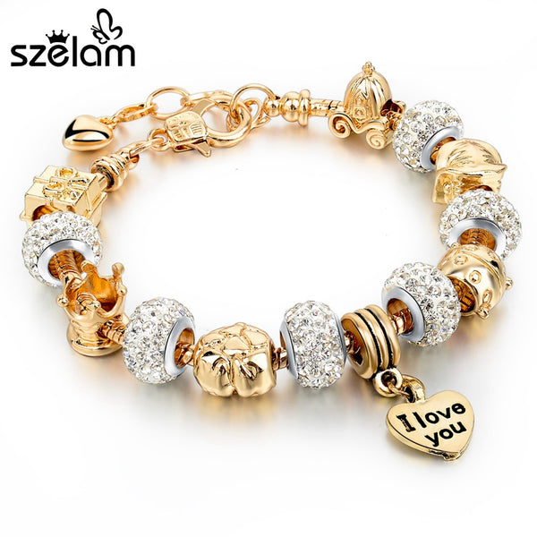 Szelam 2017 Gold Charm Bracelets For Women Snake Chain Heart Bracelets Bangles DIY Crystal Jewelry Pulseras SBR150122