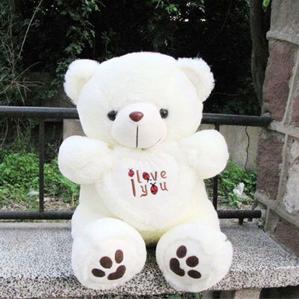 2017 Teddy Bear Kids Plush Toys High-quality White I Love You Bear Stuffed Dolls for Women Valentine's Day Gift 50cm